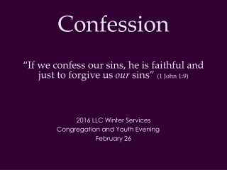 2016 LLC Winter Services Congregation and Youth Evening February 26