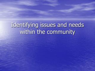 Identifying issues and needs within the community