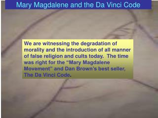 Mary Magdalene and the Da Vinci Code