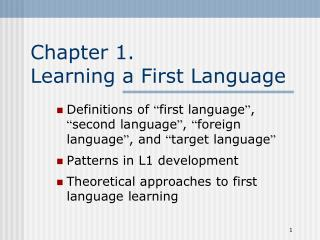 Chapter 1. Learning a First Language