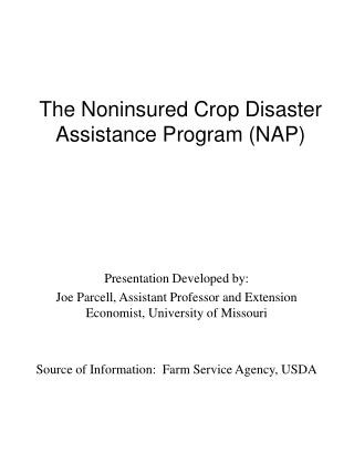 the noninsured crop disaster assistance program nap