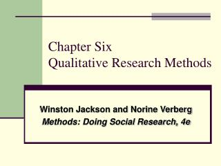 Chapter Six Qualitative Research Methods