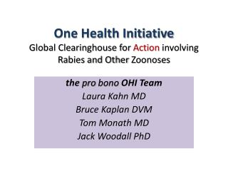 One Health Initiative Global Clearinghouse for Action involving Rabies and Other Zoonoses