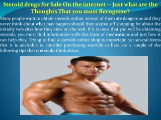 Steroid drugs for Sale On the internet -- Just what are the