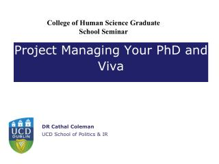 Project Managing Your PhD and Viva