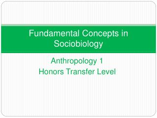 Fundamental Concepts in Sociobiology