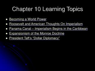 Chapter 10 Learning Topics