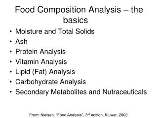 Food Composition Analysis – the basics