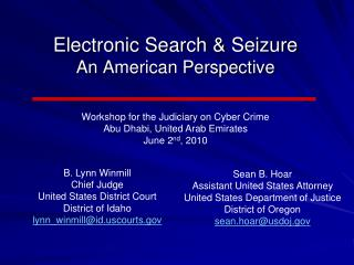 Electronic Search & Seizure An American Perspective