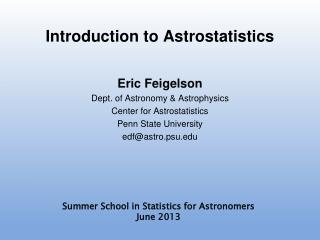 Introduction to Astrostatistics