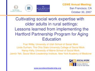 Cultivating social work expertise with older adults in rural settings:  Lessons learned from implementing the Hartford P