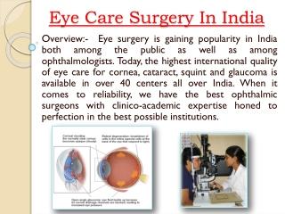 India Cost Eye Surgery