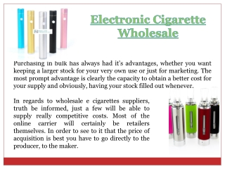 E-Cigarette Wholesale