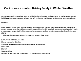 Car insurance quotes: Driving Safely in Winter Weather