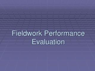 Fieldwork Performance Evaluation