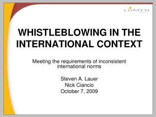 WHISTLEBLOWING IN THE INTERNATIONAL CONTEXT