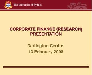 CORPORATE FINANCE (RESEARCH) PRESENTATION