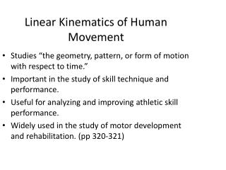 Linear Kinematics of Human Movement