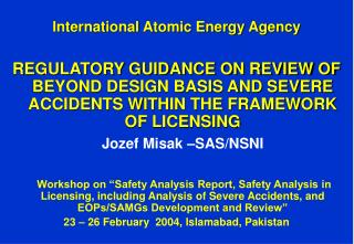 International Atomic Energy Agency REGULATORY GUIDANCE ON ...