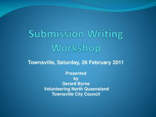 Submission Writing Workshop
