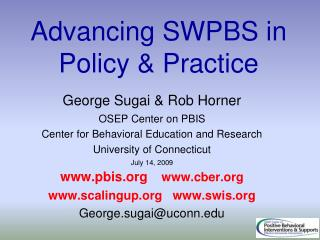 Advancing SWPBS in Policy & Practice