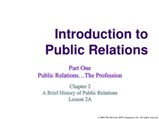 Introduction to Public Relations