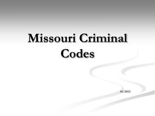 Missouri Criminal Codes