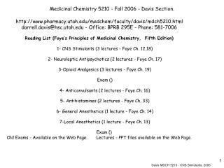 Medicinal Chemistry 5210 - Fall 2006 - Davis Section.