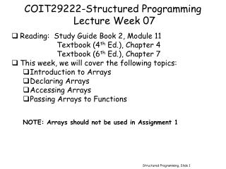 COIT29222-Structured Programming Lecture Week 07