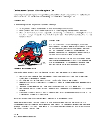Car Insurance Quotes: Winterizing Your Car