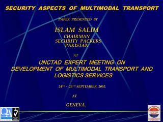 SECURITY ASPECTS OF MULTIMODAL TRANSPORT