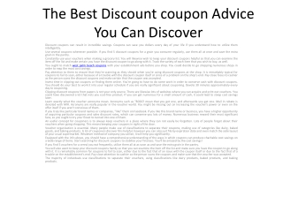 The Best Discount coupon Advice You Can Discover