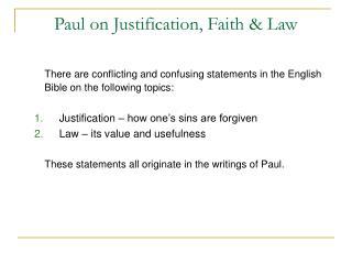 Paul on Justification, Faith & Law