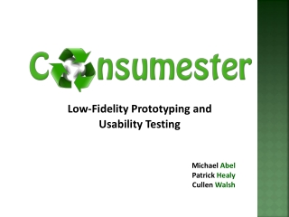 Low-Fidelity Prototyping and Usability Testing
