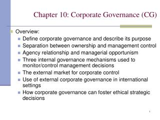 Chapter 10: Corporate Governance (CG)