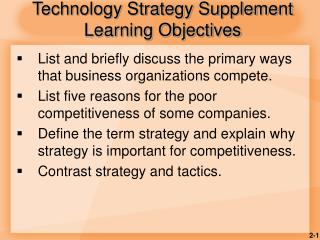 Technology Strategy Supplement Learning Objectives