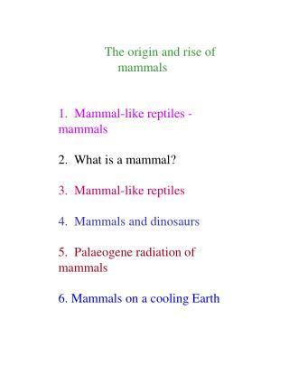The origin and rise of mammals 1. Mammal-like reptiles - mammals 2. What is a mammal? 3. Mammal-like reptiles 4. Mam