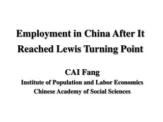 Employment in China After It Reached Lewis Turning Point