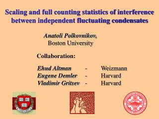 Scaling and full counting statistics of interference between independent fluctuating condensates
