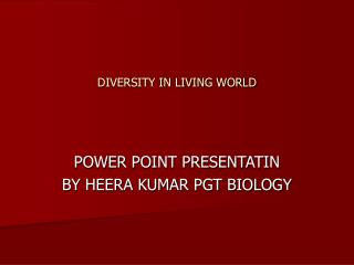 DIVERSITY IN LIVING WORLD