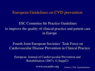 European Guidelines on CVD prevention