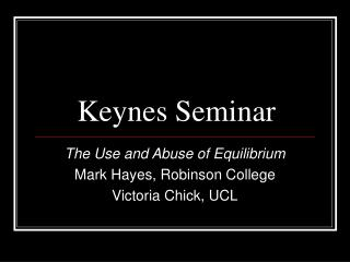 Keynes Seminar