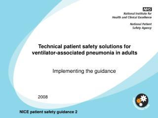 Technical patient safety solutions for ventilator-associated pneumonia in adults