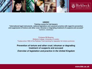 UNODC Training course for trial lawyers   International legal instruments, national legislation and casework practice wi