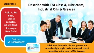 Trademark Class 4 | Lubricant and Fuel Products