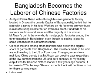 Bangladesh Becomes the Laborer of Chinese Factories