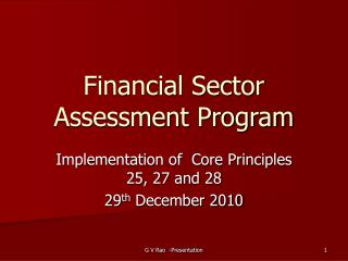 Financial Sector Assessment Program