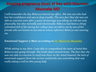 Keeping pregnancy blues at bay with Maureen Muoneke MD