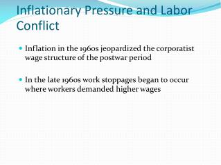 Inflationary Pressure and Labor Conflict
