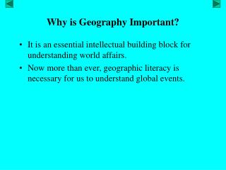 Why is Geography Important?